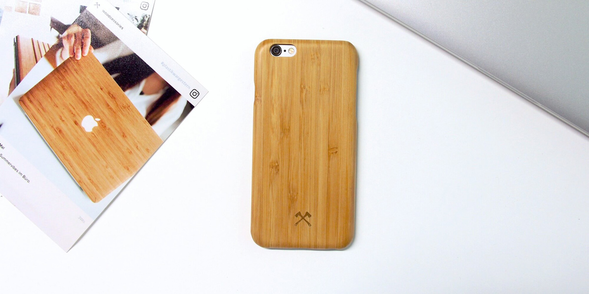 Woodcessories Kevlar Holzhuelle Holzcase ultra duenn Echtholz iPhone 7 6s 6 Apple Wooden Case